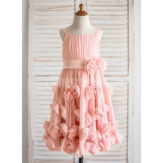 Chiffon A-Line/Princess Flower(s)/Bow(s)/Pleated Beautiful Flower Girl Dresses (010210142)