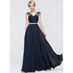 A-Line/Princess V-neck Floor-Length Chiffon Prom Dresses With Ruffle Beading Sequins (018089719)