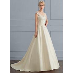 De baile Decote V Sweep/Brush trem Tule Vestido de noiva (002124276)