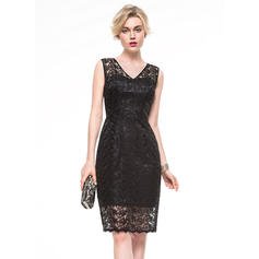 Beautiful Sheath/Column V-neck Lace Cocktail Dresses
