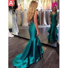 Stunning Satin Evening Dresses Trumpet/Mermaid Sweep Train V-neck Sleeveless