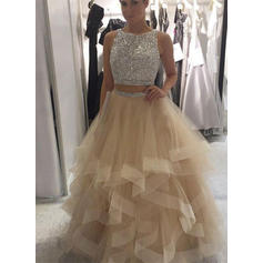 Ball-Gown Prom Dresses Magnificent Floor-Length Scoop Neck Sleeveless