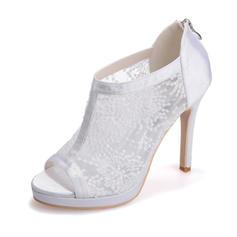 Frauen Peep-Toe Plateauschuh Sandalen Stöckel Absatz Lace Satin mit Reißverschluss Zweiteiliger Stoff Brautschuhe