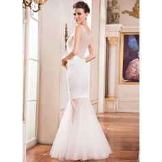 Simple Scoop Trumpet Mermaid Wedding Dresses Floor Length Tulle Lace