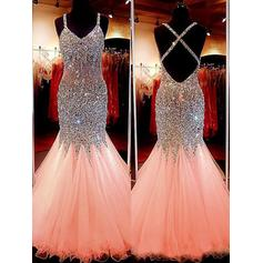Regular Straps V-neck Tulle Trumpet/Mermaid Prom Dresses