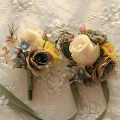 Wrist Corsage/Boutonniere Wedding Satin/Silk Charming Wedding Flowers