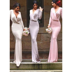 Sheath/Column Jersey Bridesmaid Dresses Ruffle V-neck Long Sleeves Floor-Length
