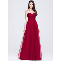 Sleeveless A-Line/Princess Tulle Scoop Neck Prom Dresses (018070359)