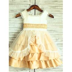 Square Neckline A-Line/Princess Flower Girl Dresses Taffeta/Tulle Ruffles Sleeveless Knee-length