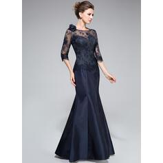 Trompete/Sereia Off-the-ombro Longos Tafetá Renda Vestido para a mãe da noiva com fecho de correr (008040831)