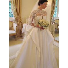 Ball-Gown Taffeta Long Sleeves High Neck Chapel Train Wedding Dresses