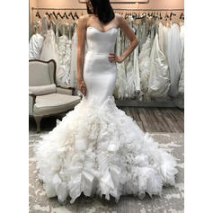 Sweetheart Trumpet/Mermaid Wedding Dresses Organza Ruffle Sleeveless Court Train (002146945)