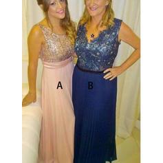 A-Line/Princess Chiffon Sleeveless V-neck Floor-Length Zipper Up Mother of the Bride Dresses