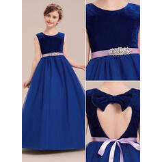 Ball Gown Floor-length Flower Girl Dress - Tulle Sleeveless Scoop Neck With Rhinestone (010143273)
