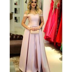 Corte A/Princesa Volantes Fuera del hombro con Satén Vestidos de noche (017212179)