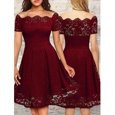 A-Line/Princess Lace Cocktail Dresses Ruffle Off-the-Shoulder Short Sleeves Knee-Length