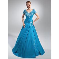 Forme Princesse Taffeta Manches courtes Col V Balayage/Pinceau train Laçage Robes mère de la mariée