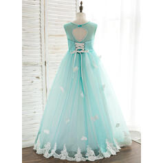 Vestidos princesa/ Formato A Longos Vestidos de Menina das Flores - Tule/Renda Sem magas Decote redondo com Beading (010164728)
