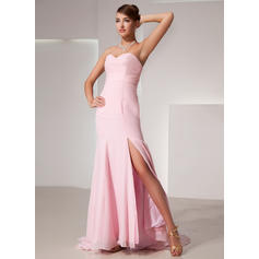 Trumpet/Mermaid Sweetheart Sweep Train Evening Dresses With Split Front (017014435)