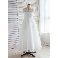 A-Line/Princess Scoop Neck Floor-length With V Back Tulle/Lace Flower Girl Dresses