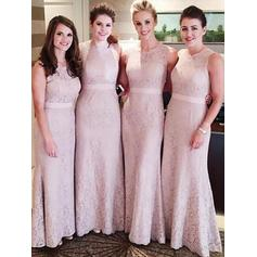 Sheath/Column Lace Bridesmaid Dresses Sash Scoop Neck Sleeveless Floor-Length