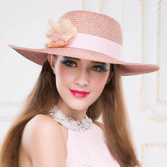 Papyrus With Silk Flower Floppy Hat/Straw Hat Charming Ladies' Hats