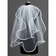 Elbow Bridal Veils Tulle Two-tier Cascade With Scalloped Edge Wedding Veils