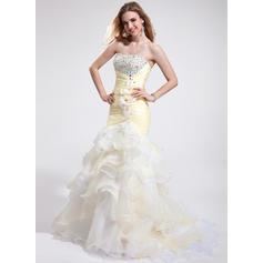 Organza Princess Trumpet/Mermaid Court Train Prom Dresses (018025265)