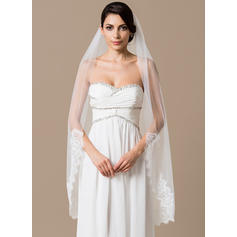 Waltz Bridal Veils Tulle One-tier Mantilla With Lace Applique Edge Wedding Veils