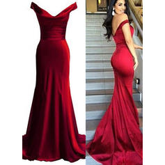 Elegant Jersey Trumpet/Mermaid Off-the-Shoulder Prom Dresses (018146545)