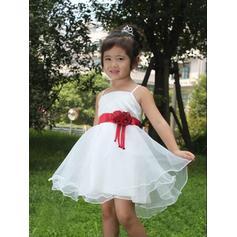 Escote Cuadrado Corte A/Princesa Vestidos para niña de arras Satén/Tul Flores Sin mangas Corto/Mini (010211909)