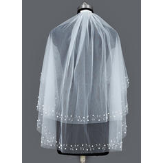 Elbow Bridal Veils Tulle Two-tier Oval With Cut Edge Wedding Veils