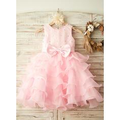 Corte A/Princesa Hasta la rodilla Vestidos de Niña Florista - Satén Sin mangas Escote redondo con Lazo(s)/Rhinestone