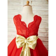 Vestidos princesa/ Formato A Coquetel Vestidos de Menina das Flores - Tule Sem magas Decote redondo com Curvado (010103745)