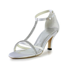 Women's Sandals Cone Heel Silk Like Satin With Buckle Rhinestone Wedding Shoes