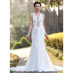 Trompete/Sereia Decote V Cauda longa Tecido de seda Vestido de noiva com Pregueado Beading lantejoulas (002005012)