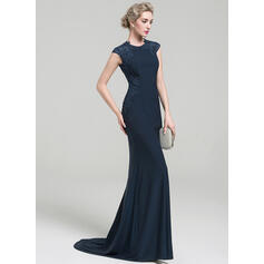 Trumpet/Mermaid Scoop Neck Sweep Train Jersey Evening Dress With Lace Beading Sequins (017093473)