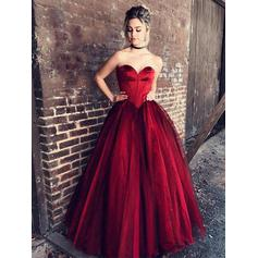 Tulle Sleeveless Ball-Gown Prom Dresses Sweetheart Ruffle Floor-Length