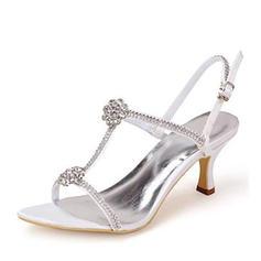 Women's Pumps Sandals Stiletto Heel Silk Like Satin With Rhinestone Wedding Shoes