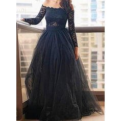 A-Line/Princess Off-the-Shoulder Floor-Length Tulle Evening Dresses With Lace