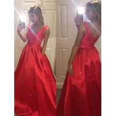 A-Line/Princess Satin Prom Dresses Ruffle V-neck Sleeveless Sweep Train
