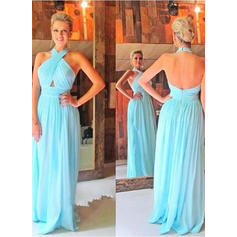Sleeveless A-Line/Princess Prom Dresses Halter Ruffle Floor-Length