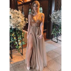 Tulle Sleeveless A-Line/Princess Prom Dresses V-neck Beading Split Front Floor-Length