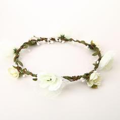 Heerlijk Katoen/Rotan Straw/Lint Bloemenmeisje Hoofddeksel/Bloemen & Veertjes