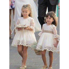 Scoop Neck A-Line/Princess Flower Girl Dresses Tulle/Lace 1/2 Sleeves Short/Mini (010216441)