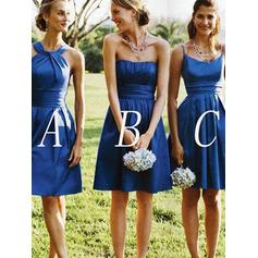 Satin Sleeveless A-Line/Princess Bridesmaid Dresses Strapless Ruffle Short/Mini
