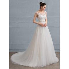 Vestidos princesa/ Formato A Decote redondo Cauda de sereia Tule Renda Vestido de noiva com Beading Curvado (002111935)