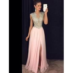 Chiffon Sleeveless A-Line/Princess Prom Dresses Scoop Neck Beading Split Front Floor-Length