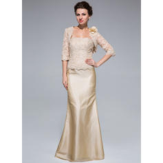 Taffeta Lace Sleeveless Mother of the Bride Dresses Strapless Trumpet/Mermaid Beading Floor-Length (008211466)