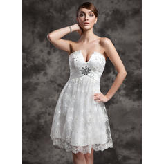 Ruffle Beading Sequins Sleeveless Empire - Charmeuse Lace Wedding Dresses (002210460)